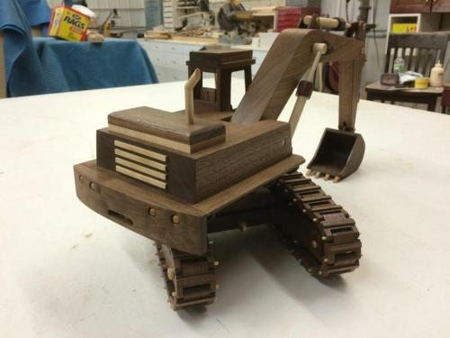 Moving Excavator  - wooden toy replicas