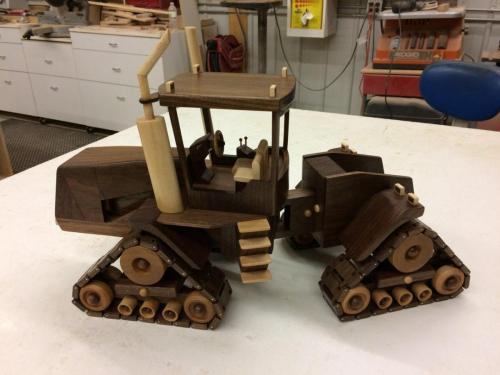 wooden tractor turns with tread- wooden toy replica